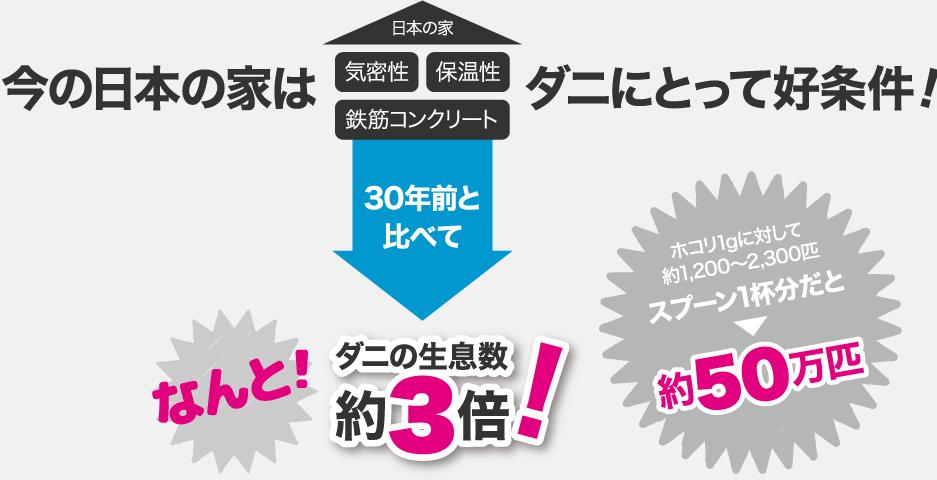 今の日本の家はダニにとって好条件!30年前と比べてダニの生息数約3倍